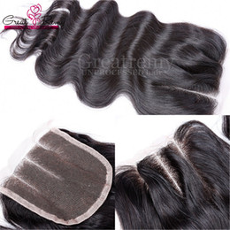 Greatremy Peruvian Body Wave virgin Human Hair Weave Three Part Top Lace Closure Hair Bleached Knots Hair Pieces Fast Shipping USPS Shipping