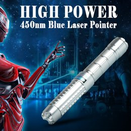 Pure Blue Laser Pointer Blue Lazer Pen Flashlights Power Visiable Bright Beam 445nm-450nm Burn Match Paper 16340 Battery Charger box