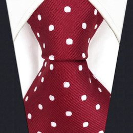 S15 Dots Red Crimson White Mens Ties Neckties 100% Silk Extra Long Size Jacquard Woven Fashion New