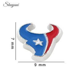 Wholesale New Arrival Alloy Enamel Houston Texans the NFL Football Teams Floating Locket Charm for Living Memory Locket Necklace Bracelet