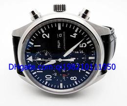 Vente en gros - Grand New Pilots 3717 42mm Hommes Automatique Montre Mens Sport Montres-bracelets Noir Dial Bracelet en cuir à partir de bracelet en cuir pilote fabricateur