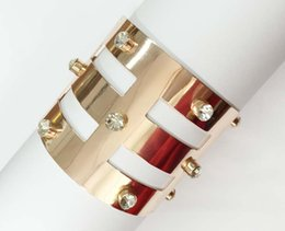 Wholesale metallic cut out open cuff bracelet with clear glass stones etched geometric shape rose gold plated