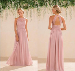 New Jasmine Bridal Blush Pink Bridesmaid Dresses Country Style Halter Neck Lace Chiffon Full Length Formal Prom Party Gowns Custom Made