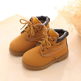 Wholesale Comfy Kids Winter Fashion Child Leather Snow Boots For Girls Boys Warm Martin Boots Shoes Casual Plush Child Baby Toddler Shoes