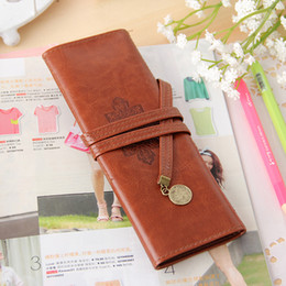 Wholesale-1pc Korean Stationery Twilight Retro Leather Pencil Roll Bag Cute Stationery Pencil Bag