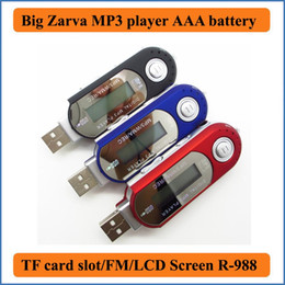 Wholesale Big Zarva USB MP3 Music Player with FM Radio support TF Card Max to GB USE AAA Battery kinds EQ USB Flash MP3 U Disk R