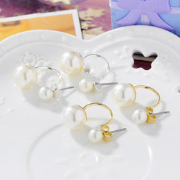 Wholesale 2016 New Princess Style Yellow White Gold Plated Plain Double Pearls Back and Front Stud Earrings Fashion Jewelry Christmas Gift for Women
