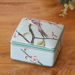 Wholesale Quadrate hand painted ceramic Jewelry Box Women floral birds pattern ceramic bangle box Chinese Arts and Crafts Home furnishing