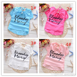 Wholesale 2016 new children shirts manufacturers outlet girls printed letter shirt Korean alphabet bowknot Girls Shirt a set A022310