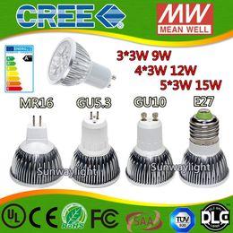 Wholesale High power CREE Led Lamp W W W Dimmable GU10 MR16 E27 E14 GU5 Led spot Light Spotlight led bulb downlight lighting