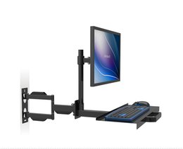 Full Motion Wall Mount Monitor Holder Keyboard Bracket PS Stand Sit-Stand Desk Workstation
