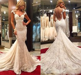 Wholesale 2016 New Elegant Arabic Style Mermaid Wedding Dresses Full Lace Cap Sleeves Appliques Sexy Sweetheart Backless Sweep Train Bridal Gowns