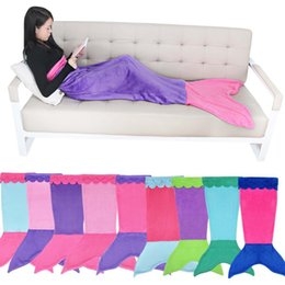 Wholesale Fashion New Handmade Mermaid Tail Fleece Blanket Lap Throw Bed Wrap Fin Warm Cocoon Costume Girls Kids Children Sleeping Bag