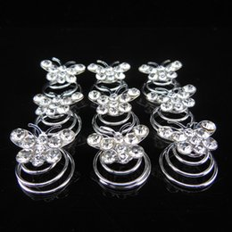 120pcs Female Butterfly Crystal Zinc Alloy Tiaras Hair Accessories Twists Spins Pins Decorations for Hair