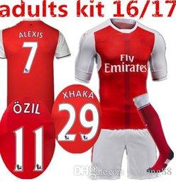 Wholesale 2016 Arsenal kit socks Jerseys shirts WILSHERE OZIL WALCOTT RAMSEY ALEXIS price Jersey home and away AAA