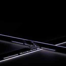 Wholesale Stainless Steel Car LED moving Door Scuff Built in LED light guide welcome pedal door sill strip for Mercedes Benz C class W204