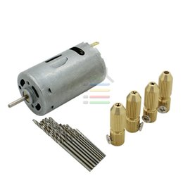 Wholesale New DC V Electric Motor Smaill PCB Drill Press Drilling Set PC mm Twist Bits w pc mm Shaft Chuck Brass Collets order lt no