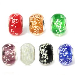 Wholesale 50pcs Lot Beautiful Snow Design Round Lampwork Glass Beads Silver Plated Fit European Charm Bracelet