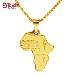 Africa map pendant necklace Women Men girl 18k gold plated jewelry Fashion Africa Pendant 2016 New Map Pendant Necklace Hiphop Men Jewelry