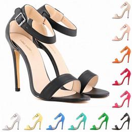 Womens Sandals 11cm Open Toe Ankle Straps Sandals High Heels Summer Bridal Patent Leather Pumps Sapatos Femininos Sandalias D0091