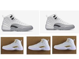 New Barons 12s 2016 New Mens basketball shoes Sports Shoes Leather Retro Sneakers Outdoors WOMEN Athletics Shoes Retros 12 White ovo grey