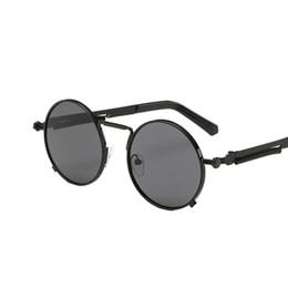 Wholesale-Vintage Round Sunglasses Men  Steampunk Sunglasses Coating Mirror Round Circle Lens Sunglasses Special Legs Glasses UV400