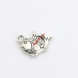 30pcs Antique Silver Plated Tiny Fish Charms Pendants Bracelet Necklace Jewelry Making Accessories DIY 13x13mm
