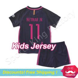 Wholesale kids soccer jerseys Camisola adolescente INESTA SUAREZ MESSI NEYMAR JR FOOTBALL jerseys Children MESSI football set kit
