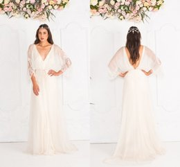 Wholesale Vintage Jane Hill Boho Beach Wedding Dresses Plunging V Neck Lace Cheap Long Sleeves Plus Size Bohemian Bridal Gowns Chiffon Sweep Train