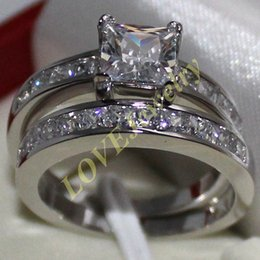 Lady's 925 Silver Square Simulated Diamond CZ Stone Wedding Ring Set Two Layers for Women Size 5-11