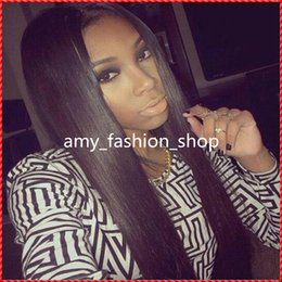 Top quality virgin brazilian long stright natural color and hairline glueless front lace wig full lace wig