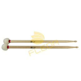 Wholesale NEW Pair of Wood Double End Drumsticks Drum Sticks Mallets A Head Oval Plastic Core with Felt Head