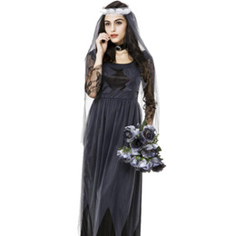 Wholesale Fashion Lace Chiffon Game Ghost Bride Dress With Flower And Head Yarn Cosplay Clothes Halloween Costumes For Women