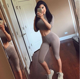 Wholesale Women Sexy Long Sleeve Jumpsuit Solid bodycon Rompers Jumpsuit Catsuit bodysuit Crop top tight pants yoga clothes night club dress