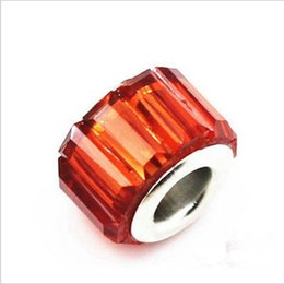 50PCS Lot Beautiful Red Resin Rhinestone Charms Silver core European Style Big Hole Beads for Jewelry Making Low Price