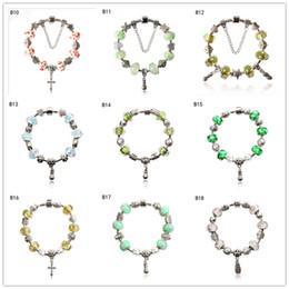 Fashion women's Tibetan silver glass beads Charm Bracelet EMPDB2,Sunflower cross DIY European Beads bracelet 6 pieces a lot mixed style