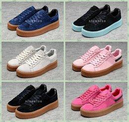Wholesale 2016 New Fenty Rihanna x Suede Men Women Rihannas Creeper Black Oatmeal Sneakers Casual Shoes Designers Rihanna Shoes