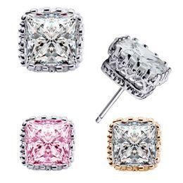 Wholesale Luxury Crown Wedding Stud Earrings CZ Rhinestone mm Square Crystal Engagement Beautiful Jewelry Crystal Ear Rings
