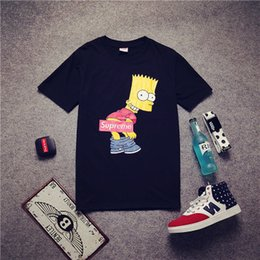 Wholesale Summer Mens Bart Simpson T shirt Short Sleeve Cartoon Shirt Cotton Head Portrait Print Lovers Shirts