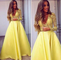 Bright Yellow Satin Prom Dresses V Neck Long Sleeves Lace Appliques A Line Sheer Sexy Party Gowns 2016 Women Formal Dresses
