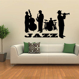 Wholesale DHL JAZZ Band Music Wall Stickers Kid Room Home Decoration living room WallPaper Cartoon Removable cm