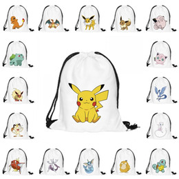 Wholesale 3D Poke Backpacks drawstring schoolbag presell styles Cartoon Pikachu D Printing drawstring bags Shopping Bags handbags Packs Bags