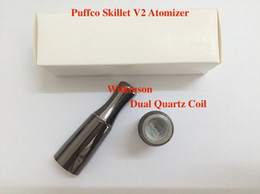 Newest Puffco Vaporizer Skillet V2 Atomizer with Dual Quartz Rod Coils Replaceable Coil Head Fit eGo Evod eGo-C Twister ego-t battery