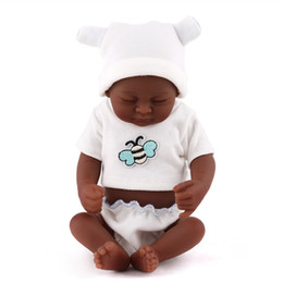 Black Skin Eye Closed Realistic Reborn Baby Doll Soft Full Silicone Vinyl Newborn Baby Boy Kids Child Birthday Gift Toys