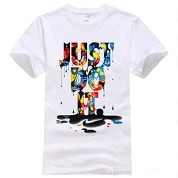 Wholesale Hot Sell JUST DO IT white rainbow printing men s T shirt Colorful Mens Fashion casual round collar short sleeve shirts