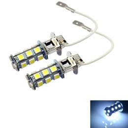 LEEWA 40pcs White 3W H3 5050-SMD 18Leds Car Xenon LED Fog Headlight Head Lamp Bulb #1456