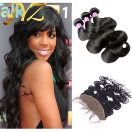 Virgin Malaysian Hair Lace Frontal 13x4 With 3Bundles Natural Color Body Wave Human Hair With Frontals 4Pcs Lot Virgin Hair With Frontals