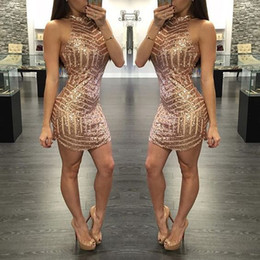 Wholesale Gold Sequins Cocktail Party Dresses Fitted Halter Mini Short Plus Size Backless Prom Homecoming Gowns