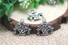 Wholesale 25pcs flower basket Charms Antique Tibetan silver flower basket charm pendants x19mm