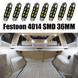 50pcs Recap Auto decoration accessories Vehicle Parts 4014 6SMD 36mm Dome Festoon Lamp White C5W LED Reading Front Map Light Glove Box Bulb